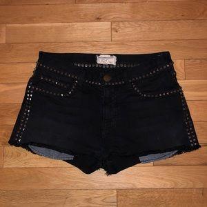 Women's Current/Elliot studded denim shorts
